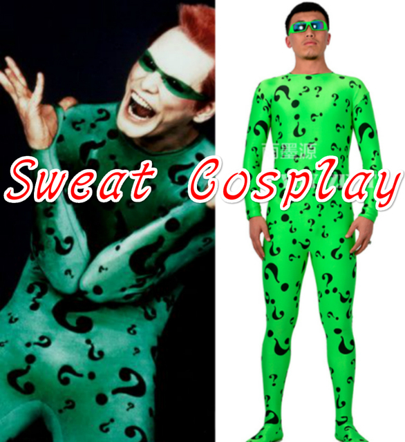 High Quality Riddler Costume With Glasses Green Riddler Suit