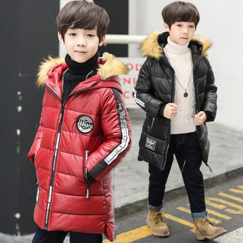 2018 winter Fashion new children's clothing boys jacket coat thicken warm wool coat virgin leather long Hooded Padded