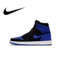 Original Authentic Nike Air Jordan 1 Retro Hi Flyknit AJ1 Men's Basketball Shoes Sport Outdoor Sneakers Athletic 919704 006