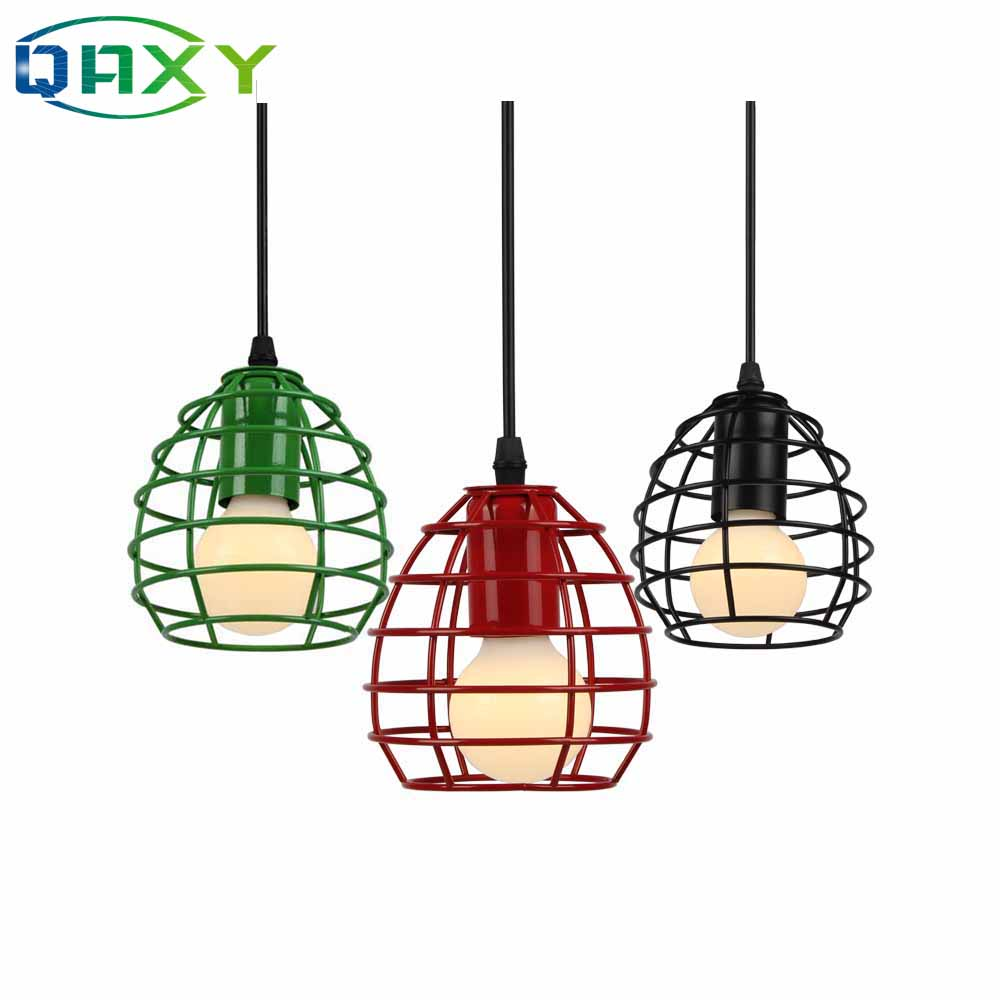 New Antique Green Red Blue Pendant Light Loft Droplight Fixture Iron Cage Pendant Lamp Hanging Dinning Room Fitting Light D1620