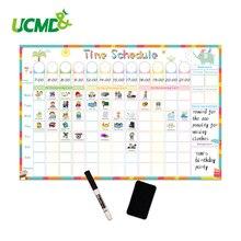 Магнитный стираемый календарь с расписанием времени, белая доска, ежедневный Еженедельный планировщик, записывающий список для детей, наградная диаграмма, Настенная Наклейка