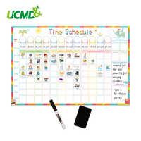 Calendário de tempo apagável magnético quadro branco tarefa diário planejador semanal escrevendo a lista de fazer crianças carta de recompensa adesivo de parede