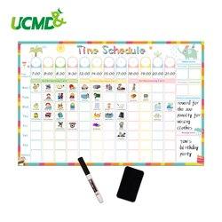Magnético borrable tiempo Calendario para horarios pizarra tarea planeador diario semanal por escrito a-Lista de recompensa de los niños gráfico etiqueta de la pared