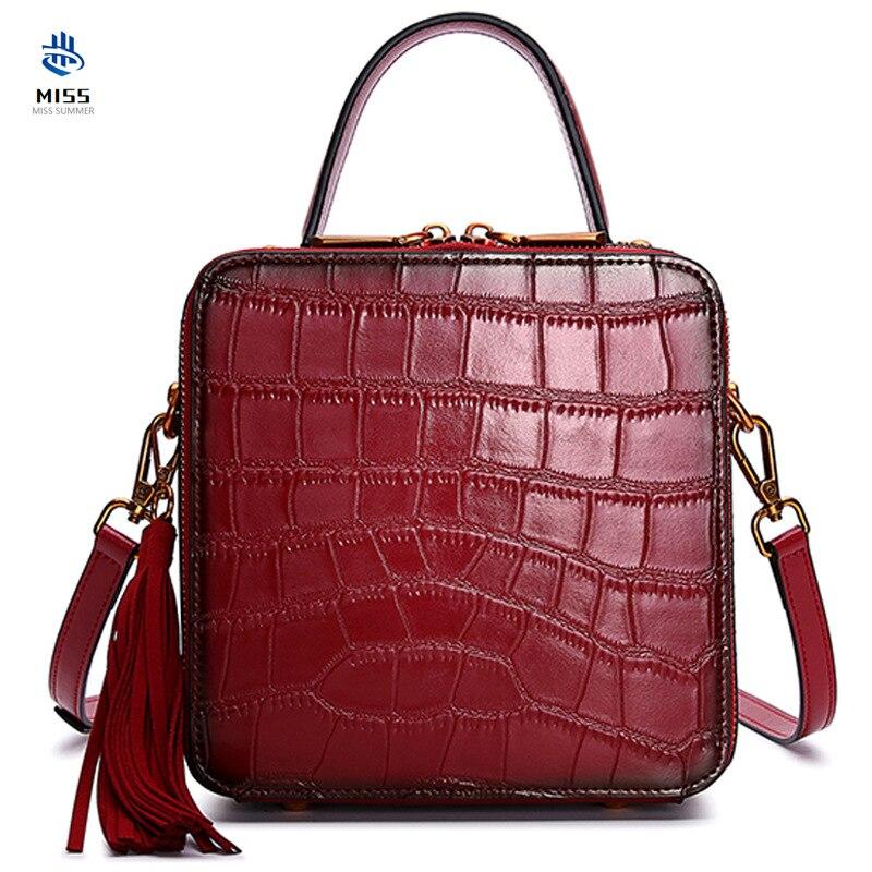 2019 nouveau crocodile en cuir de vache véritable sacs à main luxueux sac Messenger rétro Messenger design classique petit sac carré fourre-tout