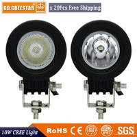 GDCREESTAR Factory Wholesale 20pcs Lots 12V 10W Mini Car Auto Led Offroad Lights Fog Lamp For