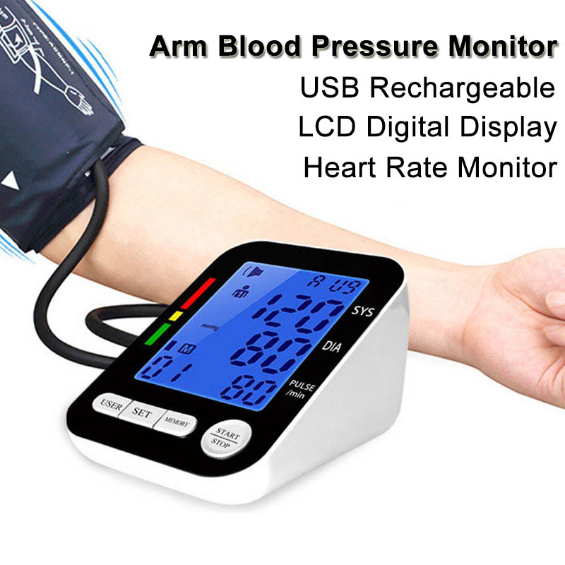 все цены на LCD Digital Upper Arm Blood Pressure Monitor Automatic Heart Rate Pulse Meter Tonometer Sphygmomanometer USB Rechargeable