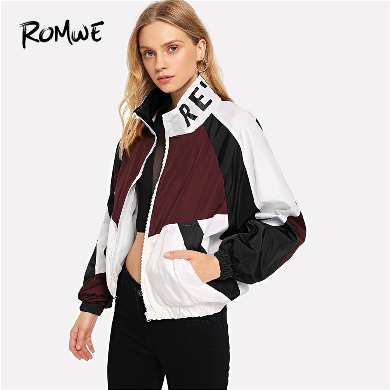 ROMWE Color Block Letter Print Jacket Women Autumn 2019 Clothing Casual Womens Jackets And Coats Female Stand Collar Outerwear