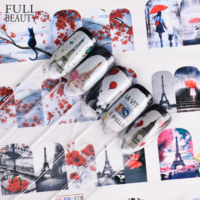 12 tasarım takılar Sticker çift/akçaağaç çiçek baykuş takı kaymak Nail Art su transferi çıkartmaları çivi sarar manikür ipuçları BN