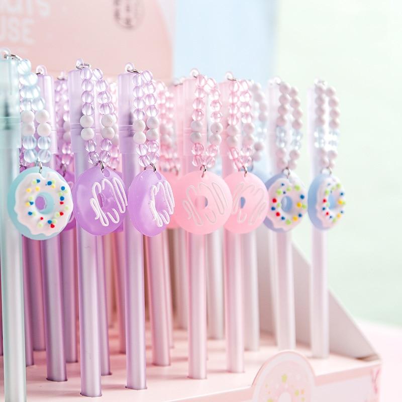 Cute Donut Pendant Pen Kawaii Neutral Pens 0.5mm Creative Gel Pens For Kids Girls Gifts School Office Supplies Korean Stationery