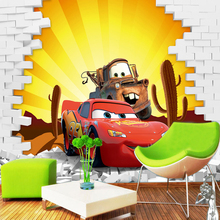 Custom Mural Wallpaper For Wall 3D Stereoscopic Creative Cartoon Cars Brick Broken Wall Paper Roll Home Decor For Kid's Room
