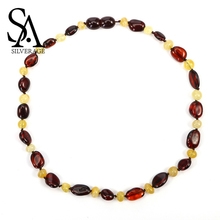 SA SILVERAGE 2019 New Amber Necklace Baby Mom Baltic Amber Bead Women Jewelry Gift Natural Amber with Trendy Gemstone Chains yoowei 47cm amber necklace for women gogerous gift boho european design 5 6mm baltic amber beads collars amber jewelry wholesale