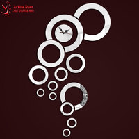 New Arrival Cicular Mirror Wall Clock 3D Home Graden Decor Mirror Watch Wall For Room