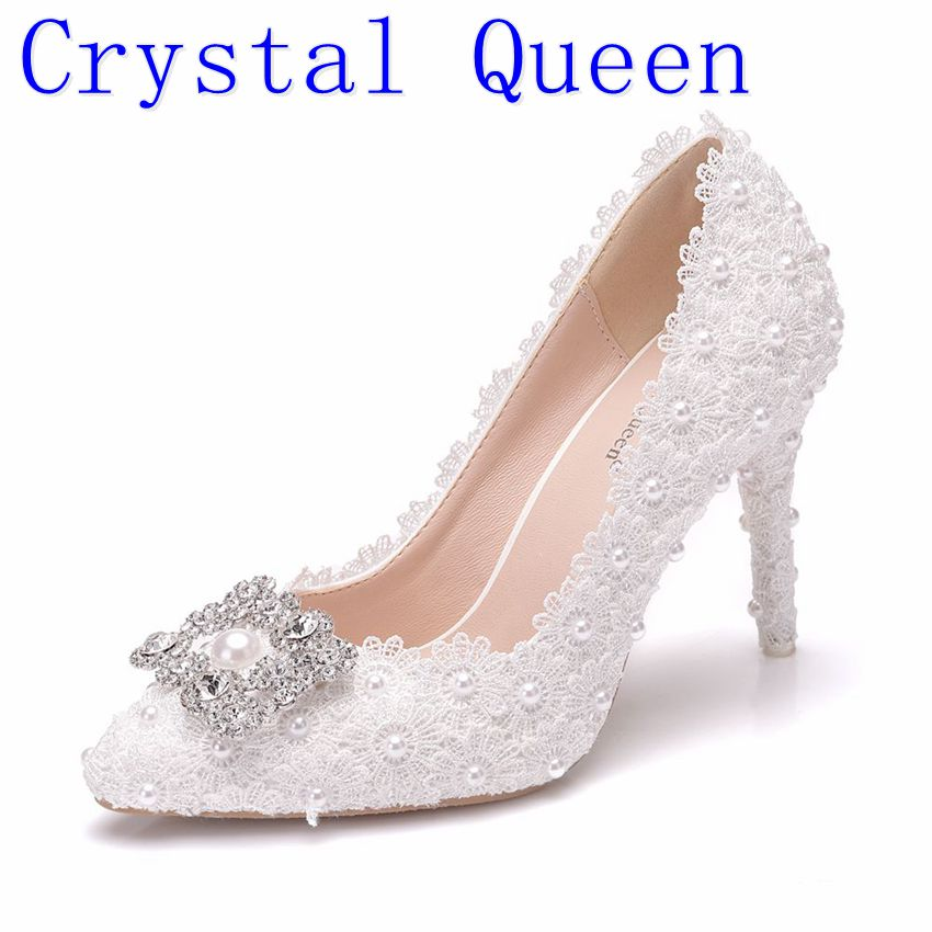 Crystal Queen White Lace High Heels Wedding Shoes Rhinestone decoration bride Party Shoes Women Pumps Ladies