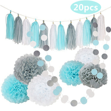 Hot!20pcs Blue White Paper Flower Ball Tassel String DIY Holiday Set Happy Birthday Wedding Party Baby Shower Home Decor