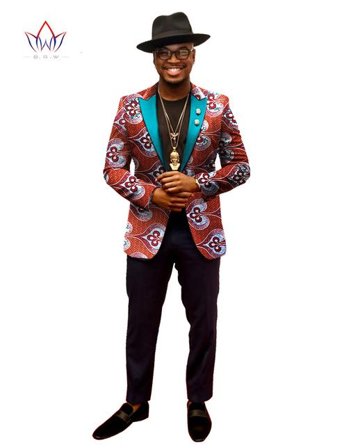 2017 Chaquetas de Primavera de Los Hombres Blazer Traje Homme África Bazin Riche WYN202 BRW 6XL Mens Ropa Vestidos Formales Envío Libre