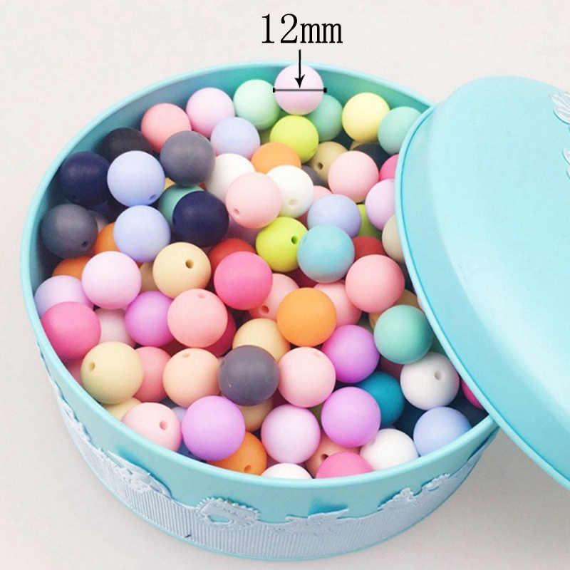 12mm cuentas de silicona 5 uds cuentas redondas para dentición de bebé BPA libre Mordedor Perle dentición de silicona para la fabricación de collares