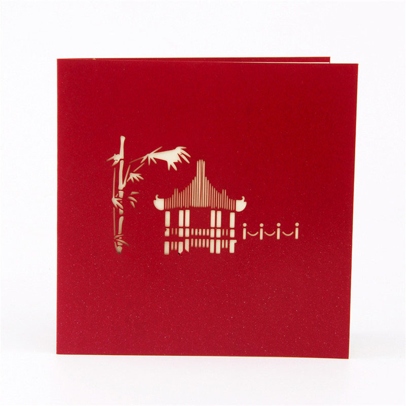 3D Paper Laser Cut Carving Chinese Suzhou Gardens PostCard Greeting ...