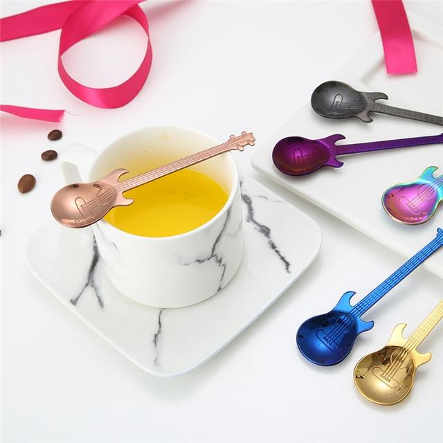 Stainless Steel Cartoon guitar Spoon Creative Milk Coffee Spoon Ice Cream Candy Teaspoon accessories