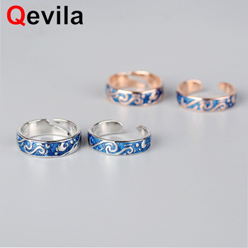 Qevila Hot Fashion Rings Plated S925 Silver Van Gogh Starry Sky Open Lover Ring