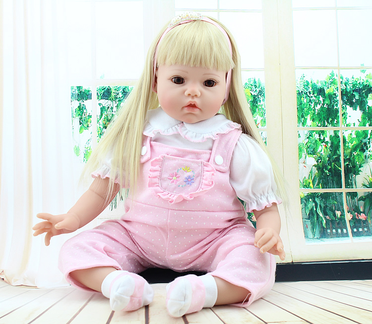 ФОТО Handmade Baby Toy 20inch Realistic Soft Silicone Reborn Babies Doll Newborn Baby Face Girls Gift Toy