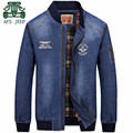 AFS JEEP Autumn 2017 Spring Men's Denim O-neck Fashion Motorcycle Jacket,Elasticity Sleeve,100% Cotton Brand Cardigan Outwear