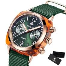 WWOOR luksusowe zegarki damskie wodoodporny biznes zielony Nylon panie kwarcowy Relogio Feminino Milan opaska siatkowa zegarek dla kobiet chronograf