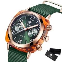 WWOOR relojes de lujo para mujer, cronógrafo resistente al agua, de negocios, de nailon verde, de cuarzo, con malla de Milán