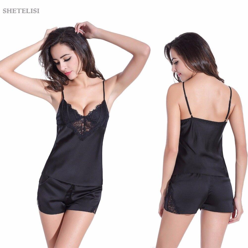 Bərk Satin Şifon Qadın Pijama Spagetti qayış krujeva Sevimli - Alt paltarları - Fotoqrafiya 2