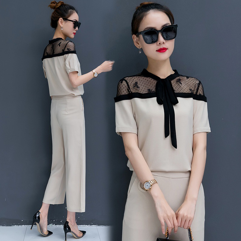 2018 New Arrival Women Two Pieces Set Short Sleeve Tops wide leg Pants Sets Casual Summer Set Office Ladies mesh women clothing ...