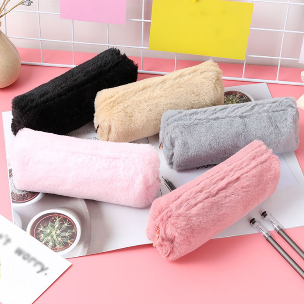 2019 Sweet Girls Plush Fluffy Pencil Case Creative Cute Makeup Pouch Women Soft Storage Bag Solid Color Soft Girls Cosmetic Bag