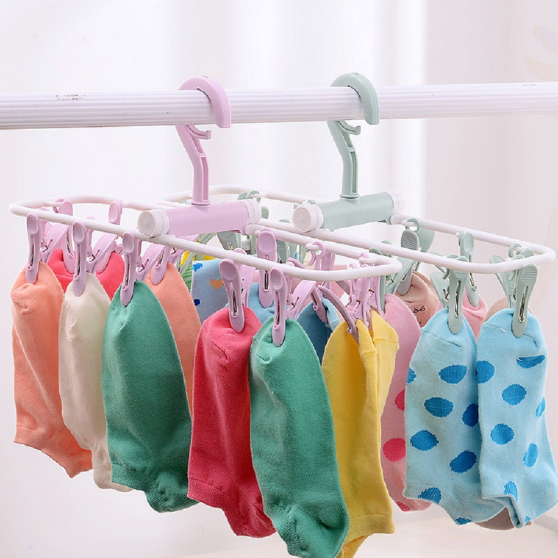 New Windproof Clips Laundry Hanger Collapsible Plastic Hanging Rack 12 Clothespin Clothes Pegs