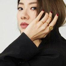 SRCOI, золотая металлическая монета, голова королевы, геометрические шестигранные кольца на кастет, простое персонализированное открытое регулируемое кольцо для женщин