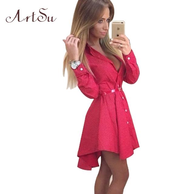 New 2016 Preppy Style Women Summer Autumn Dress Sexy 3/4 Sleeve Red Plaid Print Office Shirt Cardigan Dresses Work Wear DR5985