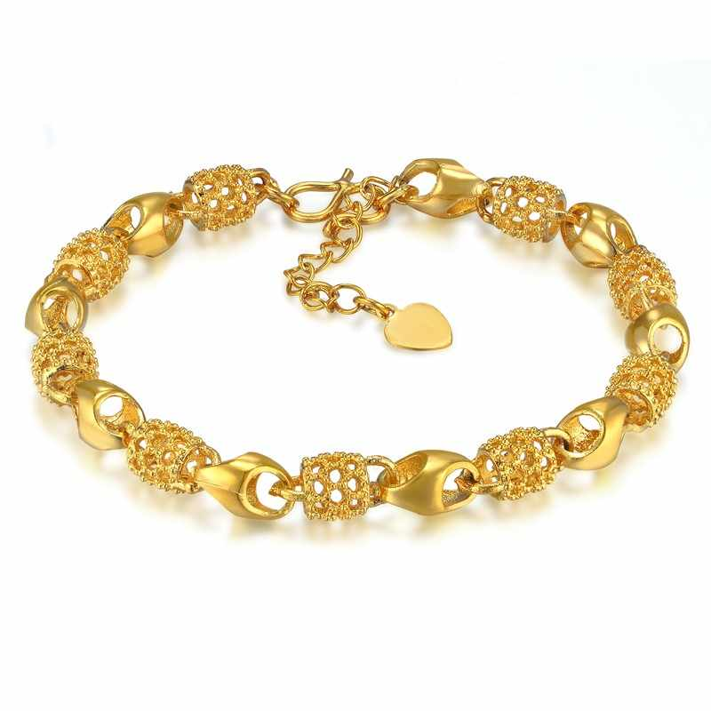 European Style Gold Bracelet Charms Chain Link Bracelet Bead Embossing Gold Color Bracelet Female New bracelets & bangles S699