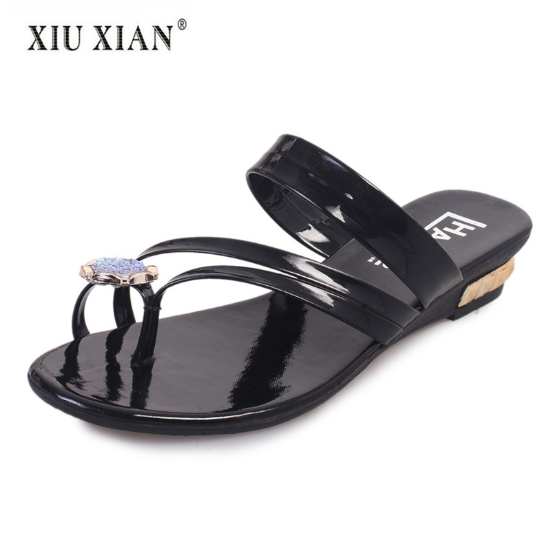 01090853f74459 2018 Cool Summer New Arrived Women Slippers Sandals Crystal Thick Heel Slip  on Comfort Outside Beach Shoe Fashion Lady Home Shoe-in Slippers from Shoes  on ...
