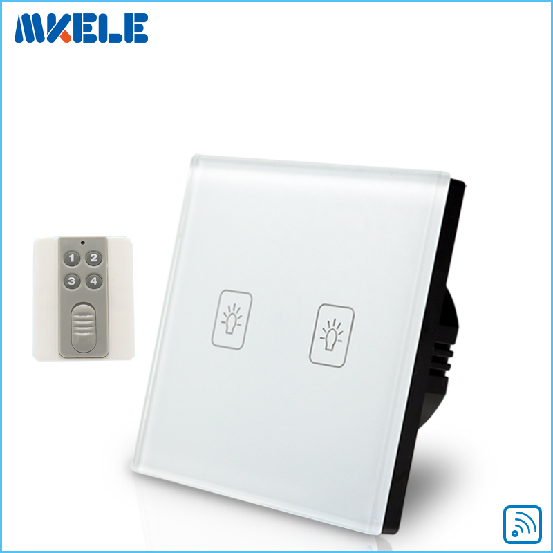 Remote Touch Wall Switch EU Standard 2 Gang 1 Way RF Control Light White Crystal Glass Panel With Switches Electrical wall light free shipping remote control touch switch us standard remote switch gold crystal glass panel led 50hz 60hz