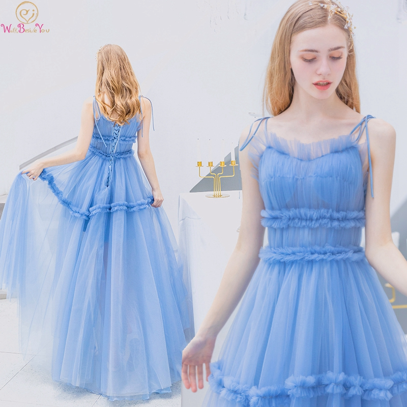 Light Blue   Prom     Dresses   2019 New Sweetheart Neck Spaghetti Straps Elegant Lace Up Illusion Formal Evening Party Graduation Gowns