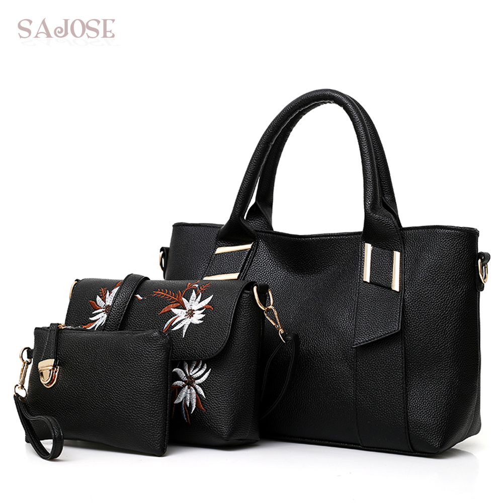 3 Pcs Set Leather Women Bag Handbags High Quality Embroidery Female Bags  For Lady Trunk 6b71cb8a85725