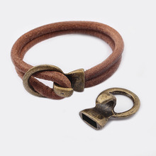 купить 5pcs Antique Bronze Open Hook All in one Connectors Jewelry Findings Fit DIY Bracelet Making For 5mm Round Leather дешево