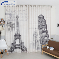 Senisaihon Europe Cartoon 3D Blackout Curtains Eiffel Tower Pattern Velvet Fabric Thicken Bedroom Tulle Curtains For