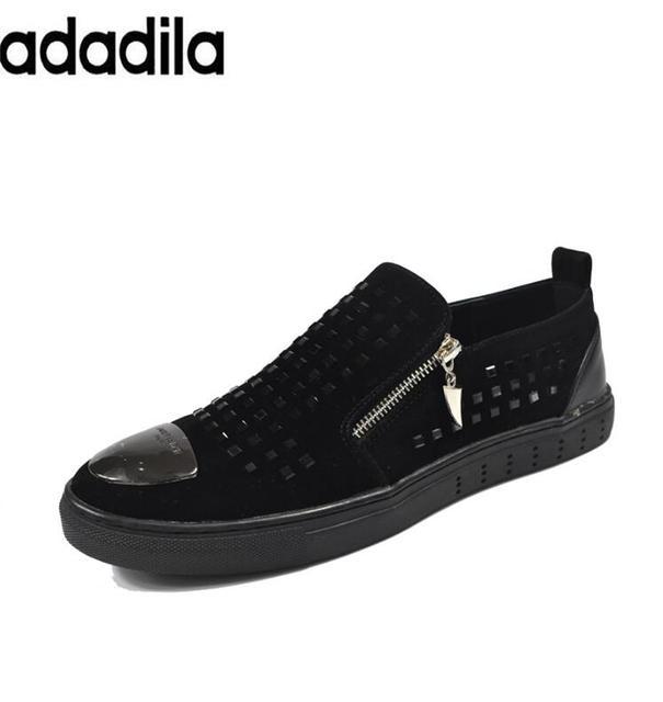 3d5e91cb87be 2017 Fashion Shoes Men Black Zipper Rhinestones Genuine Leather Brand Low Red  Bottom Shoes For Men Flats Loubuten Shoes