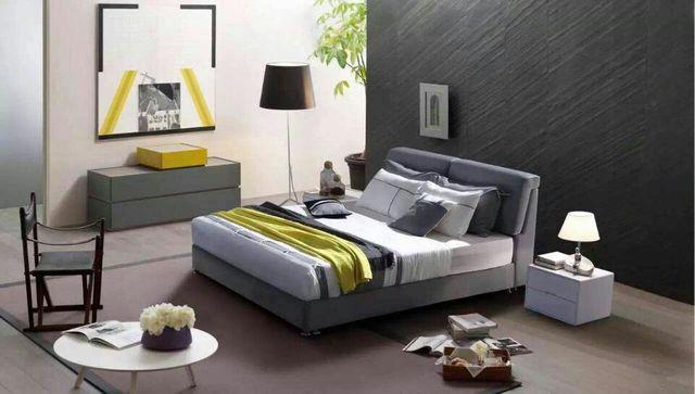 Gris moderno y contemporáneo de dormir de tela suave cama muebles de dormitorio de matrimonio Hecho en China