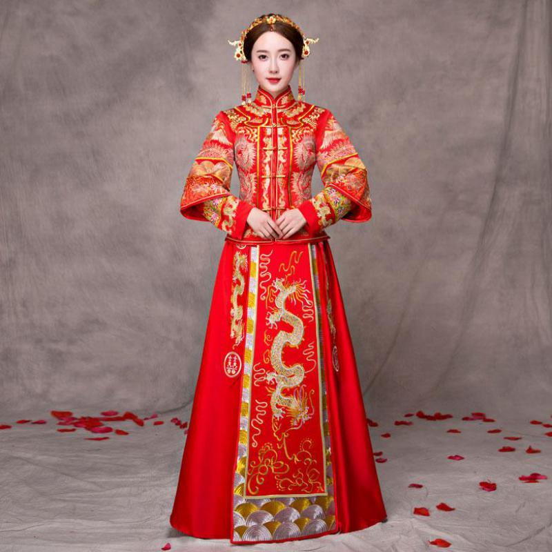 Chinois rouge broderie Dragon Phoenix Cheongsam mariée robe de mariée Noble antique femmes Qipao Vestidos Oriental mariage costume