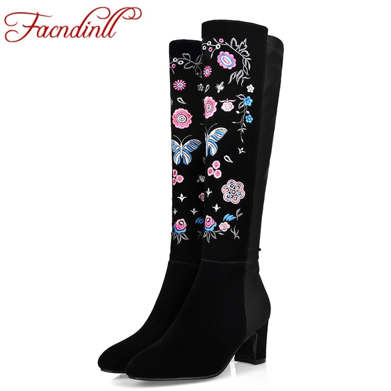 FACNDINLL shoes woman autumn winter long boots real leather high heels pointed toe zipper black women knee high boots size 34-43 facndinll women knee high boots leather winter boots pointed toe zip casual shoes women high heels size 32 45 black boots woman