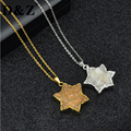 D&Z Gold Plated Hexagram Natural Citrine Pendants Necklaces Dursy Crystal Quartz Necklace for Women Jewelry