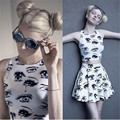 Hot Summer Fashion Estilo 2 Peça Set Mulheres Top de Culturas E Saia conjunto Casual Emoji Mulheres Ternos Sexy Eye Imprimir Mini Saia Conjuntos de Tanques