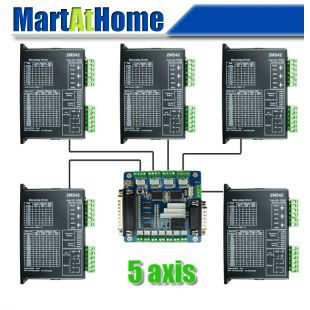 Free Shping Diy CNC Kit 5 Axis Stepper Drive 2M542 4.2A & Breakout Interface Board for CNC Machine #SM566 @CF free shipping diy cnc kit 4 axis stepper drive 2m542 4 2a