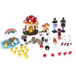 62pcs Miniatures Garden Fairy Decoration Resin Crafts Micro Landscape DIY Dollhouse Bonsai Figurine Terrarium Toys Ornaments