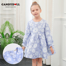 CANDYDOLL New fall girls' long-sleeved dress top jacquard with cotton lining princess dress  kids dresses for girls