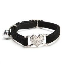 Velvet Cat Collar with Rhinestones Heart